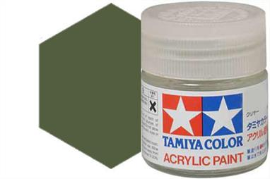 Tamiya XF-62 matt olive drab, acrylic paint suitable for brush or spray painting.