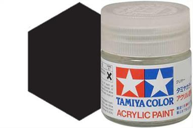 Tamiya X-18 semi-gloss black, acrylic paint suitable for brush or spray painting.