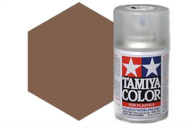 Tamiya TS1 Red Brown Synthetic Lacquer Spray Paint 100ml TS-1These cans of spray paint are extremely useful for painting large surfaces, the paint is a synthetic lacquer that cures in a short period of time. Each can contains 100ml of paint, which is enough to fully cover 2 or 3, 1/24 scale sized car bodies.