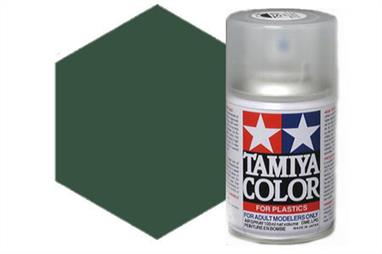Tamiya TS2 Dark Green Synthetic Lacquer Spray Paint 100ml TS-2These cans of spray paint are extremely useful for painting large surfaces, the paint is a synthetic lacquer that cures in a short period of time. Each can contains 100ml of paint, which is enough to fully cover 2 or 3, 1/24 scale sized car bodies.
