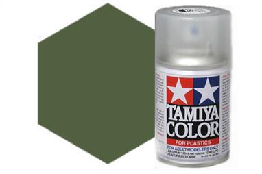 Tamiya TS5 Olive Drab Synthetic Lacquer Spray Paint 100ml TS-5These cans of spray paint are extremely useful for painting large surfaces, the paint is a synthetic lacquer that cures in a short period of time. Each can contains 100ml of paint, which is enough to fully cover 2 or 3, 1/24 scale sized car bodies.