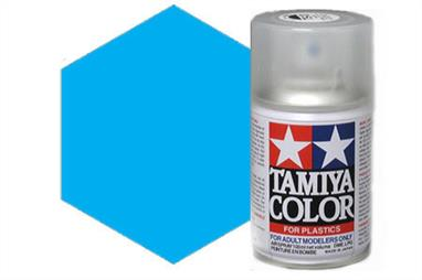 Tamiya TS23 Light Blue Synthetic Lacquer Spray Paint 100ml TS-23These cans of spray paint are extremely useful for painting large surfaces, the paint is a synthetic lacquer that cures in a short period of time. Each can contains 100ml of paint, which is enough to fully cover 2 or 3, 1/24 scale sized car bodies.