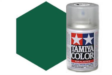 Tamiya TS9 British Green Synthetic Lacquer Spray Paint 100ml TS-9These cans of spray paint are extremely useful for painting large surfaces, the paint is a synthetic lacquer that cures in a short period of time. Each can contains 100ml of paint, which is enough to fully cover 2 or 3, 1/24 scale sized car bodies.