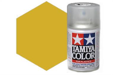 Tamiya TS21 Gold Synthetic Lacquer Spray Paint 100ml TS-21These cans of spray paint are extremely useful for painting large surfaces, the paint is a synthetic lacquer that cures in a short period of time. Each can contains 100ml of paint, which is enough to fully cover 2 or 3, 1/24 scale sized car bodies.