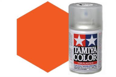 Tamiya TS31 Bright Orange Synthetic Lacquer Spray Paint 100ml TS-31These cans of spray paint are extremely useful for painting large surfaces, the paint is a synthetic lacquer that cures in a short period of time. Each can contains 100ml of paint, which is enough to fully cover 2 or 3, 1/24 scale sized car bodies.