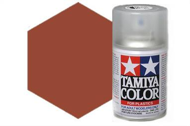 Tamiya TS33 Dull Red Synthetic Lacquer Spray Paint 100ml TS-33These cans of spray paint are extremely useful for painting large surfaces, the paint is a synthetic lacquer that cures in a short period of time. Each can contains 100ml of paint, which is enough to fully cover 2 or 3, 1/24 scale sized car bodies.