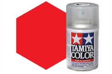 Tamiya TS36 Fluorescent Red Synthetic Lacquer Spray Paint 100ml TS-36These cans of spray paint are extremely useful for painting large surfaces, the paint is a synthetic lacquer that cures in a short period of time. Each can contains 100ml of paint, which is enough to fully cover 2 or 3, 1/24 scale sized car bodies.
