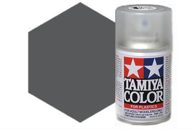 Tamiya TS38 Gun Metal Synthetic Lacquer Spray Paint 100ml TS-38These cans of spray paint are extremely useful for painting large surfaces, the paint is a synthetic lacquer that cures in a short period of time. Each can contains 100ml of paint, which is enough to fully cover 2 or 3, 1/24 scale sized car bodies.