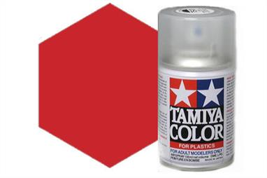 Tamiya TS39 Mica Red Synthetic Lacquer Spray Paint 100ml TS-39These cans of spray paint are extremely useful for painting large surfaces, the paint is a synthetic lacquer that cures in a short period of time. Each can contains 100ml of paint, which is enough to fully cover 2 or 3, 1/24 scale sized car bodies.