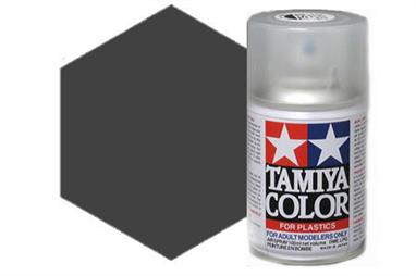 Tamiya TS40 Met. Black Synthetic Lacquer Spray Paint 100ml TS-40These cans of spray paint are extremely useful for painting large surfaces, the paint is a synthetic lacquer that cures in a short period of time. Each can contains 100ml of paint, which is enough to fully cover 2 or 3, 1/24 scale sized car bodies.