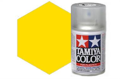 Tamiya TS47 Chrome Yellow Synthetic Lacquer Spray Paint 100ml TS-47These cans of spray paint are extremely useful for painting large surfaces, the paint is a synthetic lacquer that cures in a short period of time. Each can contains 100ml of paint, which is enough to fully cover 2 or 3, 1/24 scale sized car bodies.