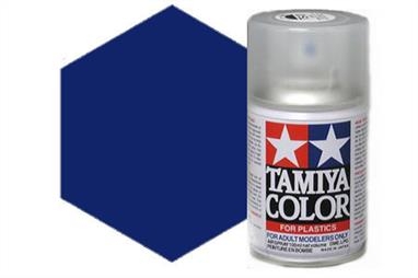 Tamiya TS53 Deep Met. Blue Synthetic LacquerSpray Paint 100ml TS-53These cans of spray paint are extremely useful for painting large surfaces, the paint is a synthetic lacquer that cures in a short period of time. Each can contains 100ml of paint, which is enough to fully cover 2 or 3, 1/24 scale sized car bodies.