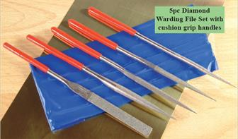 5-piece diamond warding file set with cushion grip handles. Set contains flat, half round, round, 3-sided and square files. Files are 180mm long, maximum widths vary from 5mm to 10mm.