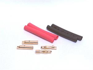 2 pairs of gold 4mm bullet type connectors with heatshrink.