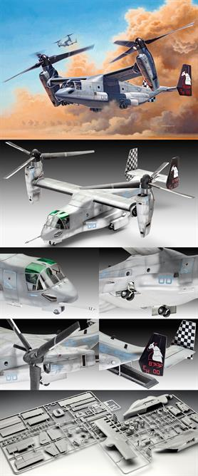 Revell 1/72 Bell Osprey V-22 Tilt Rotor Aircraft Kit 03964Length 242mmNumber of Parts 126Wingspan 210mmGlue and paints are required