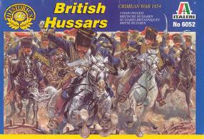 Italeri 1/72 Crimean War British Hussars Plastic Figures 6052Box contains 12 unpainted figures and 12 horses,Paints are required