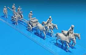 Set includes  models of 4  horses, limber, gun and 7  unpainted    figures of  artillerymen