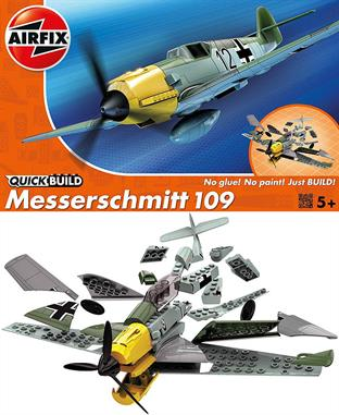 Airfix Quickbuild Messerschmitt BF109E Clip together Block Model J6001Messerschmitt Bf109e was a fighter aircraft that could excel in speed just as fast as the Spitfire! Complete your final model with the Balkenkreuz stickers provided, the emblem of the German Armed Forces in World War II. This model has a total of 36 parts with 3 additional parts for the stand. The height of the model when placed on the stand is 114 mm.