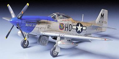 North American's Mustang was one of the most important and effective of all fighter aircraft to serve during WWII. This kit represents the definitive P-51D which was used on long range escort duties in the Pacific and Europe. Tamiya's 61040 rendition of the Mustang builds up into an impressive, highly detailed 1/48th scale replica with accurate interior and exterior detail. High quality water slide decals are included for four aircraft.
