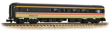 New and detailed models of the BR air conditioned express passenger stock built from the early 1970s. BR was one of the first European railways to offer air conditioned accomodation as standard on principal services.These models are of the Mk.2F coaches, the last of the Mk.2 series build (1973-1975) and almost identical to preceeding Mk.2E coaches (1972-73 build), the design changes relating primarily to the air conditioning plant. These two builds formed the backbone of the InterCity locomotive-hauled coach fleet during the 1970s and 80s.This model of the first class buffet coach recreates a coach converted in the late 1980s to replace the Mk.1 buffet cars and still in service. Painted in the InterCity red stripe livery.Era 8 1982-1995.