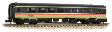 New and detailed models of the BR air conditioned express passenger stock built from the early 1970s. BR was one of the first European railways to offer air conditioned accomodation as standard on principal services.These models are of the Mk.2F coaches, the last of the Mk.2 series build (1973-1975) and almost identical to preceeding Mk.2E coaches (1972-73 build), the design changes relating primarily to the air conditioning plant. These two builds formed the backbone of the InterCity locomotive-hauled coach fleet during the 1970s and 80s.This model of the second class brake coach with open plan seating is painted in the InterCity red stripe livery.Era 8 1982-1994.