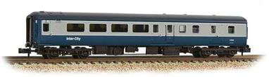 New and detailed models of the BR air conditioned express passenger stock built from the early 1970s. BR was one of the first European railways to offer air conditioned accomodation as standard on principal services.These models are of the Mk.2F coaches, the last of the Mk.2 series build (1973-1975) and almost identical to preceeding Mk.2E coaches (1972-73 build), the design changes relating primarily to the air conditioning plant. These two builds formed the backbone of the InterCity locomotive-hauled coach fleet during the 1970s and 80s.This model of the second class brake coach with open plan seating is painted in the BR corporate blue and grey livery.Era 7-8 1971-1994.