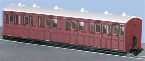 of A highly detailed model a Lynton & Barnstaple railway 1st/3rd class composite coach painted in a plain Indian red livery.Ideal for creating a rolling stock fleet for a free-lance narrow gauge railway. Lettering can be added from lettering sheets designed for OO scale trains.Length 167mm over couplings