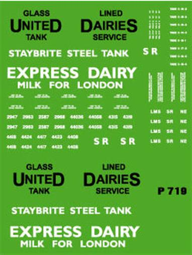 Modelmaster Decals MMP719 00 Gauge Lettering for Milk Tank Wagons United Dairies and Express DairiesComplete lettering sets for two each of 'UNITED DAIRIES' and 'EXPRESS DAIRIES' six wheeled milk tank wagons. Black & White.