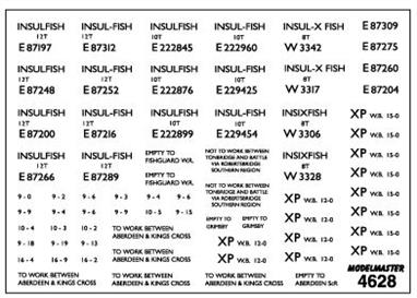 Modelmaster Decals MM4628 00 Gauge British Railways Lettering for Insulated and Fish Vans 1948-1965B.R & ex L.N.E.R. and G.W.R. design refrigerated Fish Vans. Black lettering covering not only INSULFISH and INSIXFISH vans (the latter are six wheeled), but also the East Coast's famous BLUE SPOT fish vans. Pack comes complete with blue spots.
