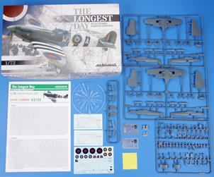 Limited Edition 1/72 scale kit of British fighter aircraft Spitfire Mk.IX. The Dual Combo style product offers two full kits of Spitfire MK.IXc and Spitfire Mk.IXe flown by RAF during D-day or shortly afterwards. All a/c are painted with D-day stripes.