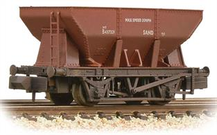 Detailed model of the British Railways 21 ton capacity iron ore hopper wagon.These all-steel wagons were also used for other aggregate products including sand where hopper discharge facilities were available at the receiving terminal.