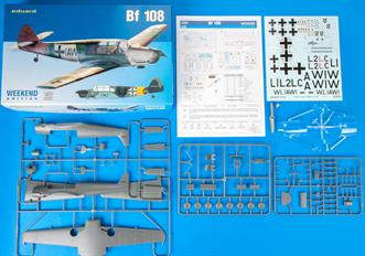 Weekend edition kit of German WWII liasion aircraft Bf 108 in 1/32 scale. plastic parts: Eduard marking options: 2 decals: Eduard