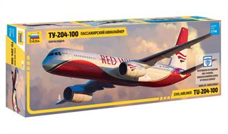 Zvezda 7023 1/144th Tupolev TU-204-100 Airliner Model KitNumber of Parts 48   Length 369mm