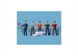 Fully painted figures to depict a permanent way team. See Modelscene 5002 Ballast Bins; Lineside Hut Kits Ratio Ref. 511 and 518, also Wills Ref. SS50.