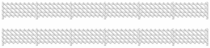 Supplied with pre-coloured parts although painting and/or weathering can add realism; glue is required to complete this model.This pack contains 680mm of classic Midland Railway diagonal style fencing fencing.