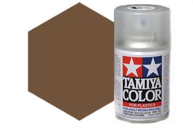 Tamiya TS62 Synthetic Lacquer Spray Paint Nato Brown 100ml TS-62These cans of spray paint are extremely useful for painting large surfaces, the paint is a synthetic lacquer that cures in a short period of time. Each can contains 100ml of paint, which is enough to fully cover 2 or 3, 1/24 scale sized car bodies.