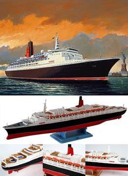 Revell 1/1200 QE2 Queen Elizabeth 2 Luxury Liner 05806British Trans-Atlantic Cruise Liner Length 244mm    Number of Parts 36Glue and paints are required
