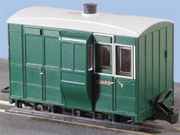 Small 4-wheel coaches were the usual choice for narrow gauge railways, being well suited to the small gauge and sharp curvature of many of these lines. This freelance model of a guards' brake and luggage van is based on the Glyn Valley Tramway coach design, so matches well with the GVT coaches and can also be used as a goods train brake van.Peco are usually able to supply us with their models quickly, please allow 14 days for delivery.