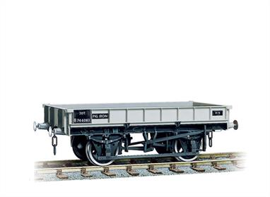These low sided wagons were used for carrying the heavy ingots of crude iron known as 'pigs' from the smelting furnace to the steelworks for refining into steel. Easy to assemble from the correctly coloured injection moulded component. Kits include Transfers. Buffers are sprung and 3-link couplings are included on all models, while the BR wagons also feature working axlebox springs and moveable brake levers. Fine scale metal tyred wheels on pin-point axles supplied, 3-hole disc for the BR types. Fully illustrated instructions included.British Railways built 1,000 of these robust low-sided wagons to carry basic pig iron produced by blast furnaces for use in iron casting processes or further refining and conversion to steel. Later these wagons were used for carrying steel coils, lasting until the early 1980s.