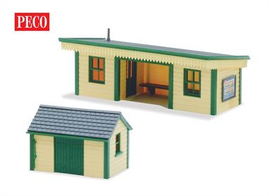 This timber clad station shelter and hut make a great adornment to a branchline platform. Both buildings are included in simple kit form.