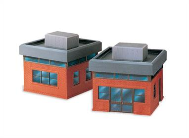 This Office Building is truly a ''manyways'' kit, for you have a choice of two each of eight different wall sections to assemble around two rectangular bases and roofs. The plastic pre-coloured parts require no painting. Size of each unit 114mmx 57mm. contains two units.