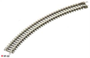 Double length no.1 radius curve section.Radius 228mm / 9in. Angle 45 degrees. 8 required for a complete circle.Double curves allow you to build up a circle of track quickly with a minimum of joints.Peco track is manufactured in Great Britain using quality nickel-silver rail which offers good electrical conductivity and corrosion resistance. Setrack track is supplied with fishplates already fitted and is compatible with the track supplied with Graham Farish train sets. Suitable for use with all manufactuers' N gauge model trains.