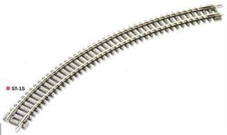 Double length 2nd radius curve track section. Radius 10 3/8in (263.5mm) angle 45 degrees. 8 required to complete a circle.Double curves allow circuits to be built more quickly and with fewer joints. Larger radius curves allow for higher train speeds.Peco track is manufactured in Great Britain using quality nickel-silver rail which offers good electrical conductivity and corrosion resistance. Setrack track is supplied with fishplates already fitted and is compatible with the track supplied with Graham Farish train sets. Suitable for use with all manufactuers' N gauge model trains.