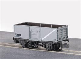 Model of a Butterley built 16 ton steel bodied mineral wagon finished in BR grey livery.