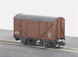 Model of a standard GWR design ventilated box van as running in British Railways ownership painted in bauxite brown livery.Railway companies all had a stock of their own vehicles for carrying goods and merchandise around their network, and also onto other companies' routes as and when required. These were integrated into British Railways at Nationalisation; some of them to be once more re liveried under sectorisation as the network was prepared to be returned to private ownership. All Peco wagons feature free running wheels in pin point axles. The ELC coupling, whilst compatible with the standard N gauge couplings, keeps a realistic distance between the vehicles and enables the PL-25 electro magnetic decoupler to be used for remote uncoupling.