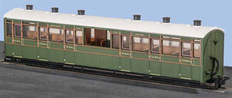 The Lynton and Barnstaple Railways coaches were large and well appointed vehicles built by the Bristol Carriage and Wagon company. In consideration of the scenery along the line many coaches had observation saloons, four third class coaches having an unglazed central observation saloon compartment producing a coach characteristic to the L&B. This model is painted in Southern Railway green livery.Length 167mm over couplings