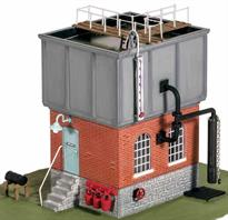Large capacity square water tank on brick building. Based on a water tank at Taunton these tanks were often installed at large depots and stations to ensure consistant water supply. The building below could be used as a stores, or to accomodate a pump.<br />Size 90x60mm
