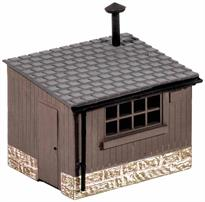 2 huts for shelter and tool storage or with many other uses; platelayers huts, tool stores, lamp huts etc. - even garden/allotment sheds or temporary site huts. Glue and paints required to complete model. Footprint: 42mm x 32mm each