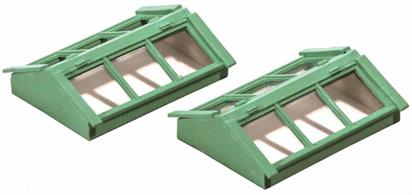 Pack of 2 which can also be used as cold frames. Approximately 32mm long and 22mm wide each. Glue and paints required to complete model.