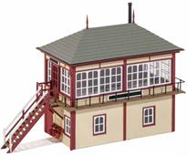 This kit is modelled on the Midland Railway standard 4d box with characteristic hipped roof, and is based on the prototype at Swadlincote Junction, Leics. This timeless design lasted right up to the demise of mechanical signalling. The Ratio Signal Box Interior kit 553 will provide a wealth of interior detail. Supplied with pre-coloured parts although painting and/or weathering can add realism (See the Pecoscene Weathering Powder range PS-360 - 365); glue is required to complete this model. Footprint 130mm x 50mm.